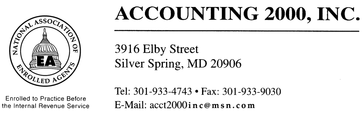 Accounting 2000, Inc.   An Enrolled Agent